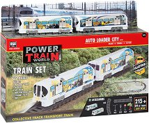 Пътнически влак с релси - Комплект за игра със светлинни и звукови ефекти - играчка