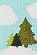 Поздравителна картичка - Елхички в преспи сняг - пъзел