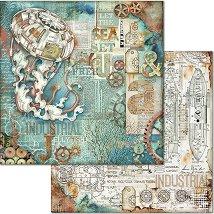 Хартия за скрапбукинг - Морски свят - Размери 30.5 x 30.5 cm