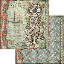 Хартия за скрапбукинг - Октопод - Размери 30.5 x 30.5 cm