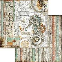Хартия за скрапбукинг - Морско конче - Размери 30.5 x 30.5 cm