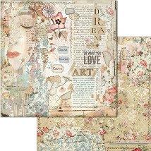 Хартия за скрапбукинг - Лице и цветя - Размери 30.5 x 30.5 cm