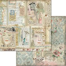 Хартия за скрапбукинг - Лица и книги - Размери 30.5 x 30.5 cm