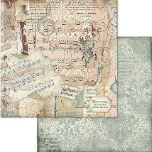 Хартия за скрапбукинг - Музикални ноти - Размери 30.5 x 30.5 cm