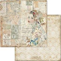 Хартия за скрапбукинг - Жена и музикални ноти - Размери 30.5 x 30.5 cm