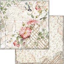 Хартия за скрапбукинг - Цветя и птици - Размери 30.5 x 30.5 cm
