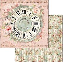 Хартия за скрапбукинг - Часовник и цветя