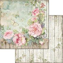 Хартия за скрапбукинг - Цветя и пеперуди - Размери 30.5 x 30.5 cm