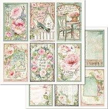 Хартия за скрапбукинг - Рамки с цветя - Размери 30.5 x 30.5 cm