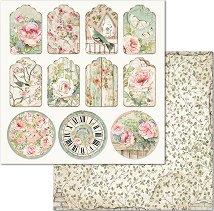 Хартия за скрапбукинг - Етикети с цветя - Размери 30.5 x 30.5 cm