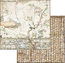 Хартия за скрапбукинг - Керемиди и клонка с птица
