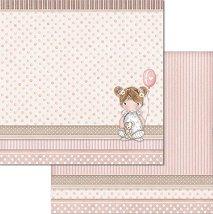Хартия за скрапбукинг - Момиченце с балон - Размери 30.5 x 30.5 cm