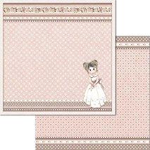 Хартия за скрапбукинг - Момиченце и сърца - Размери 30.5 x 30.5 cm