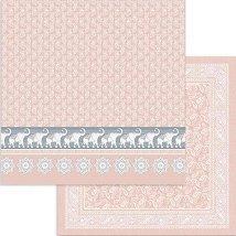 Хартия за скрапбукинг - Слонове и розов фон - Размери 30.5 x 30.5 cm