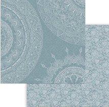 Хартия за скрапбукинг - Мандала на син фон