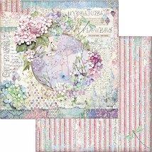 Хартия за скрапбукинг - Цветя и пеперуда