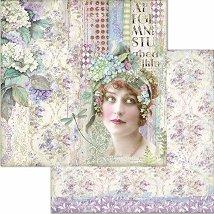 Хартия за скрапбукинг - Жена и цветя