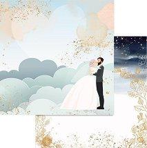 Хартия за скрапбукинг - Младоженци