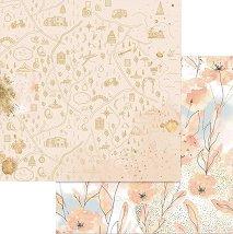 Хартия за скрапбукинг - Акварелни цветя