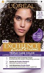L'Oreal Excellence Cool Creme Triple Care Color - Трайна крем боя за коса в студени нюанси - серум