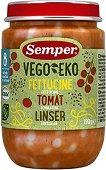 Semper - Био пюре от фетучини с домат и леща - Бурканче от 190 g за бебета над 8 месеца - пюре