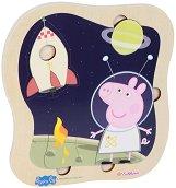 """Пътешествие в Космоса - Детски дървен пъзел от серията """"Peppa Pig"""" -"""
