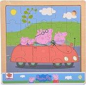 """Пътуване с кола - Детски дървен пъзел от серията """"Peppa Pig"""" -"""