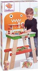 Работилница с инструменти - Детски дървен комплект за игра с аксесоари -
