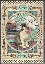 Декупажна хартия - Коте с розова панделка - Формат А4
