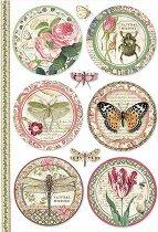 Декупажна хартия - Ботанически кръгове - Формат А4