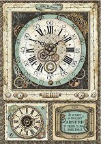 Декупажна хартия - Фантастичен часовник - Формат А4