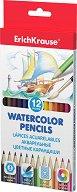 Акварелни моливи - Комплект от 12 цвята и четка