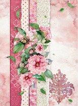 Декупажна хартия - Розови цветя - Формат А4