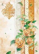Декупажна хартия - Оражеви цветя - Формат А4
