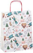 Хартиена подаръчна торбичка - Коледни украшения - С размери 34.5 / 26 / 12 cm -