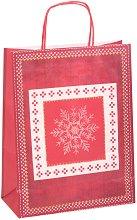 Хартиена подаръчна торбичка - Снежно сърце - С размери 34.5 / 26 / 12 cm -