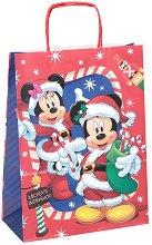 Хартиена подаръчна торбичка - Коледата на Мики - С размери 34.5 / 26 / 12 cm -