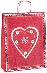 Хартиена подаръчна торбичка - Снежно сърце - С размери 36 / 46 / 12 cm - играчка