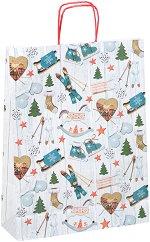 Хартиена подаръчна торбичка - Коледни украшения - С размери 36 / 46 / 12 cm -