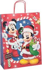 Хартиена подаръчна торбичка - Коледата на Мики - С размери 36 / 46 / 12 cm -