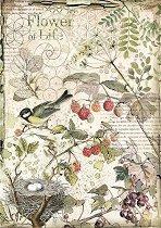 Декупажна хартия - Горски цветя и плодове - Формат А4
