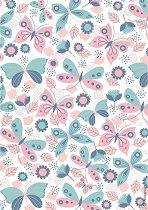 Декупажна хартия - Пеперуди и цветя - Формат А4