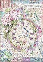 Декупажна хартия - Часовник и хортензии - Формат А4