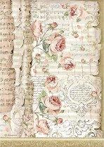 Декупажна хартия - Музика и рози
