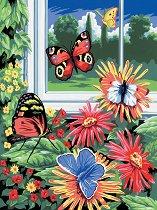 Рисуване по номера с акрилни бои - Пеперуди - Комплект за картина с размери 22 x 30 cm