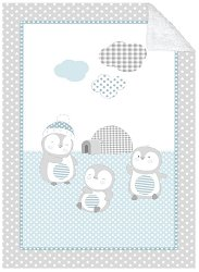 Бебешко двулицево одеяло - Pingui Family - С размери 110 x 140 cm -