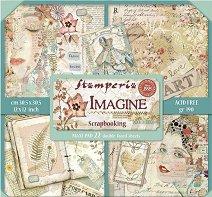 Хартии за скрапбукинг - Жени и книги - Комплект от 22 броя с размери 30.5 x 30.5 cm