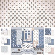 Хартии за скрапбукинг - Зимна звезда - Комплект от 6 броя с размери 30.5 x 31.5 cm
