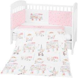 Бебешки спален комплект от 3 части с обиколник - Day In Paris EU Style - 100% ранфорс за легла с размери 60 x 120 cm или 70 x 140 cm -