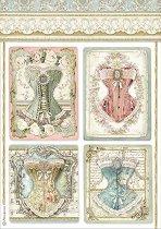 Декупажна хартия - Викториански корсети - Формат А4